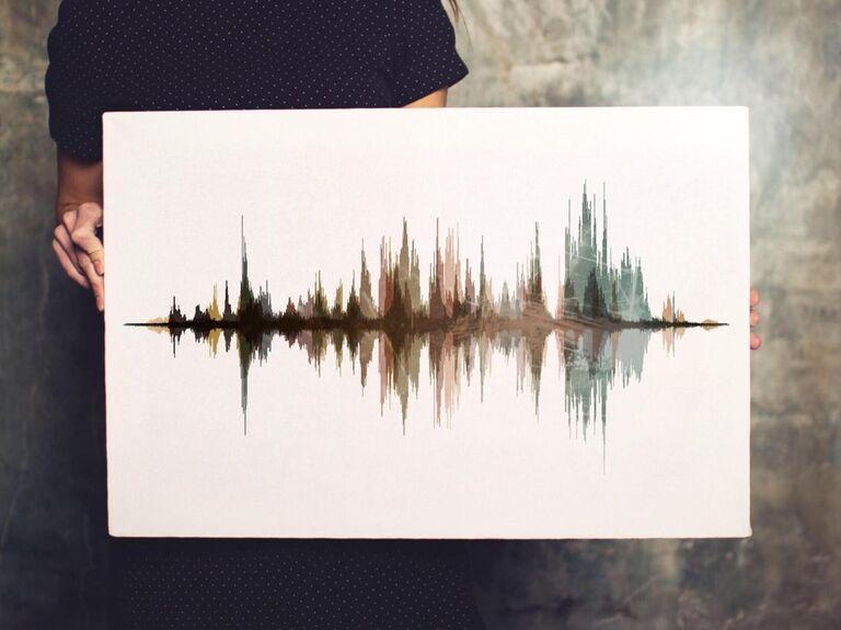 Sound wave art wedding gift for bride