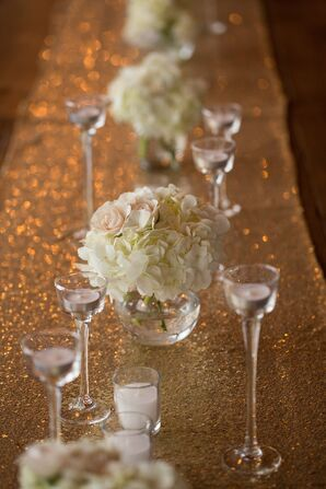 Ivory Flower Arrangements With Gold Linens
