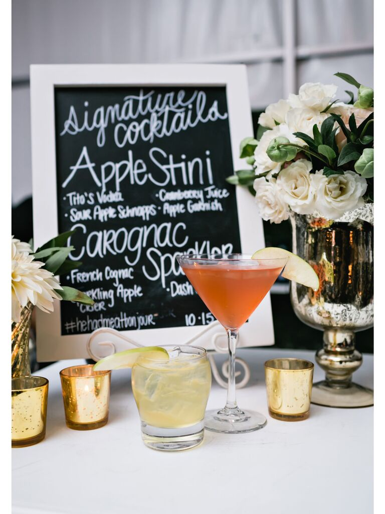 Cocktail engagement party idea drink menu