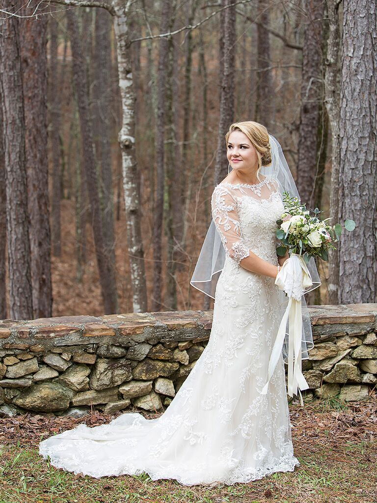 Lace wedding dress with three quarter sleeves