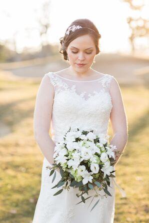 Justin Alexander Wedding Dress With Illusion Neckline