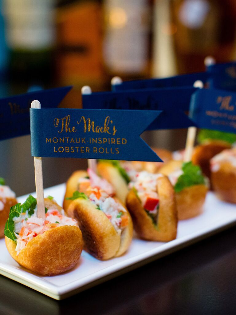 Mini lobster rolls on tray with navy flag toothpicks