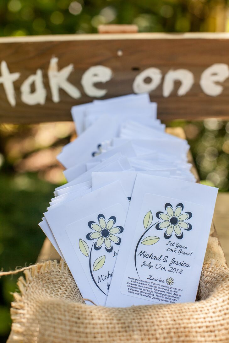 Wedding programs were printed on white paper with a blue and yellow flower design.