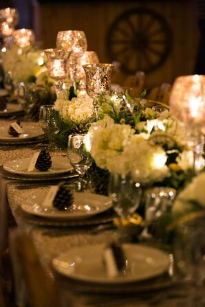 Glamorous Mercury Glass and Hydrangea Centerpieces