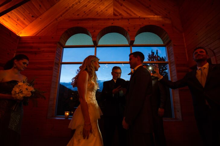 Shelby and Wyatt exchanged vows at Peaceful Valley Ranch in Colorado. The original owners of the ranch were an older Austrian couple who built a small one room traditional Austrian chapel up on a hill overlooking the valley in remembrance of his father.
