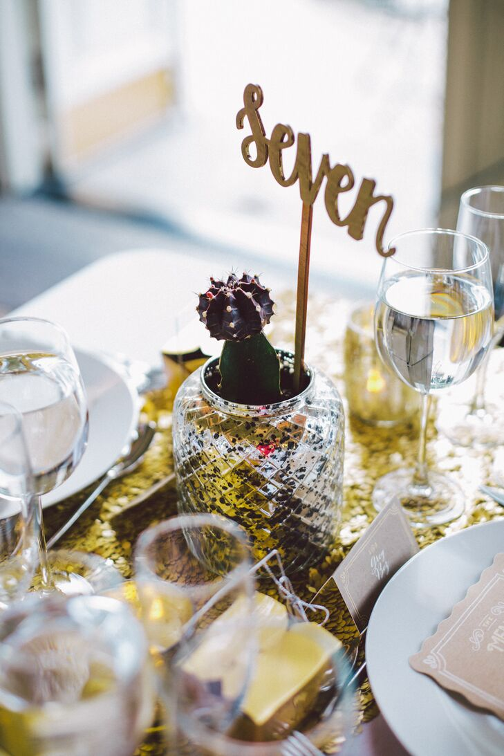 Gold Table Number with Cactus Decor