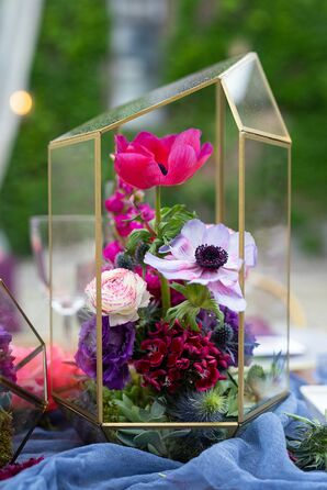 Colorful Flower Arrangement in Gold Terrarium