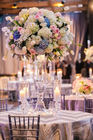 Ivory and Pink Centerpiece With Tulips and Roses