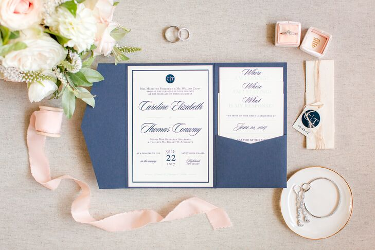 Monogrammed Navy Pocket Wedding Invitations