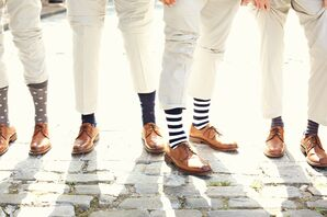 Mixed Navy Patterned Groomsmen Socks