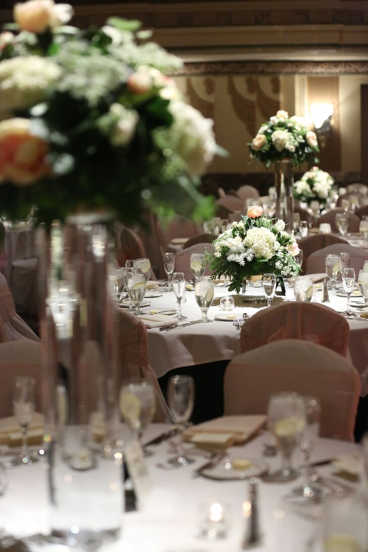 Alternating Tall And Short Rose Centerpieces
