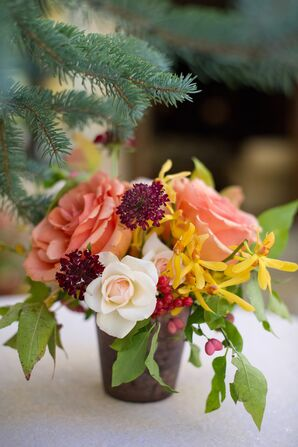 Coral and Yellow Flower Centerpiece