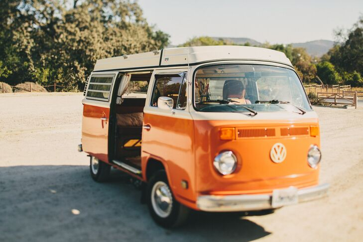 """""""Our getaway vehicle may have stolen the show,"""" Brittaney says. """"We were able to rent a beautiful Westfalia Volkswagen bus from Vintage Safari Rental. It was the perfect shade of orange, and it fit our personalities so well. We are both lovers of folk music and 1960s culture. It was the ultimate California ride."""""""
