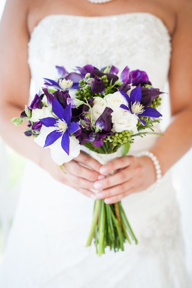 Classic Purple, Ivory and Green Bridal Bouquet