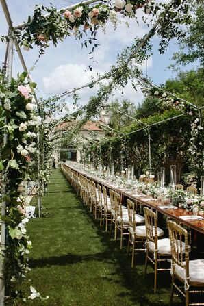 Garden Party Reception with One Long Table