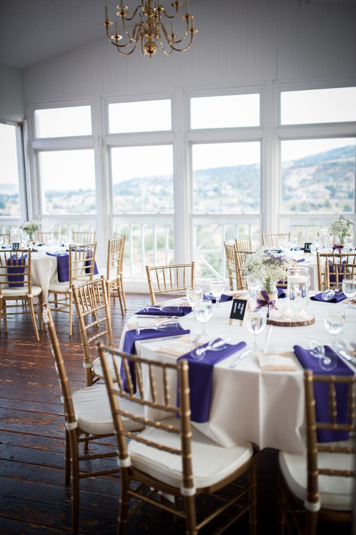 Tanya and Cody had their reception at Willow Ridge Manor in Morrison, Colorado. They decorated with gold chiavari chairs, purple linen napkins and baby's breath centerpieces.