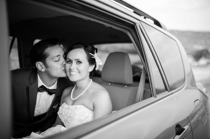 Tanya and Cody left their reception in a getaway car.