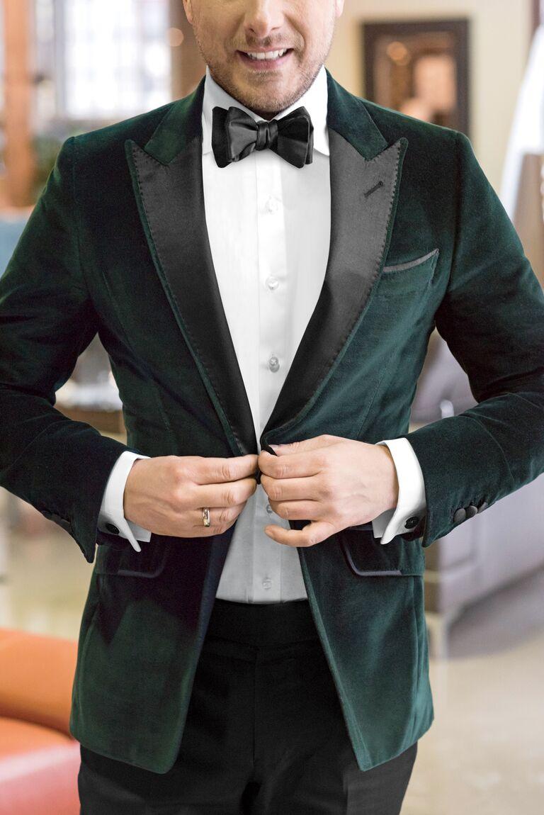 Green velvet grooms's jacket
