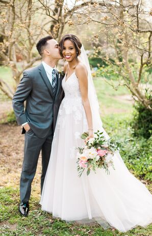 Classic Gray Tuxedo With Black Trim and Elegant Gown with Floral Appliqués