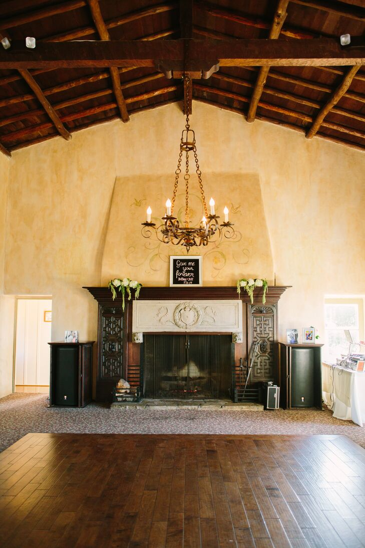 Rustic Fireplace and Chandelier, Reception Venue