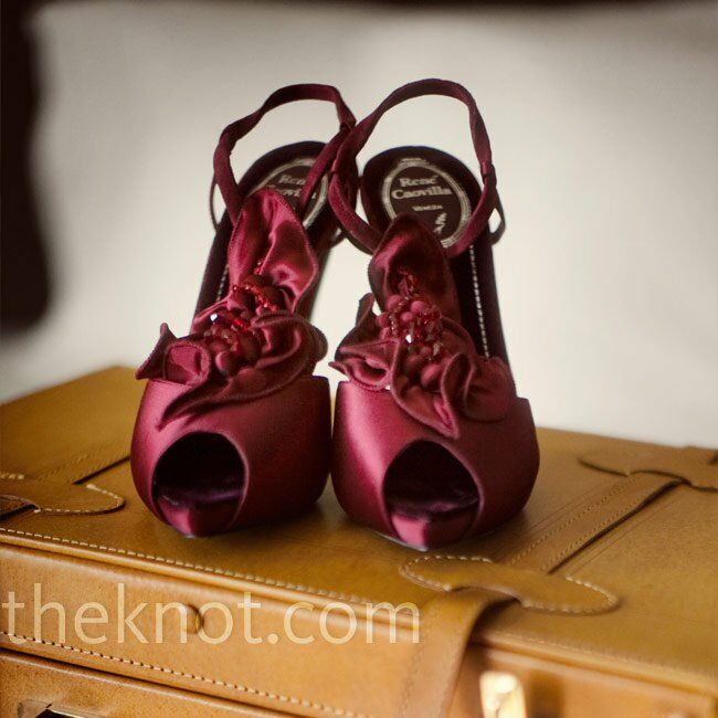 91775343111 Burgundy Bridal Shoes. Favorite. Julie wore low-key jewelry so she could  splurge on tall burgundy peep-toe