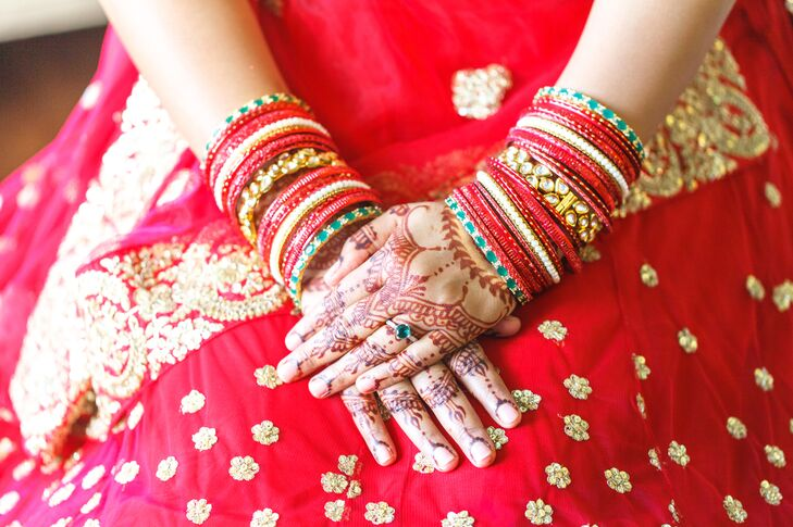 Red Hindu Dress with Bangles and Henna