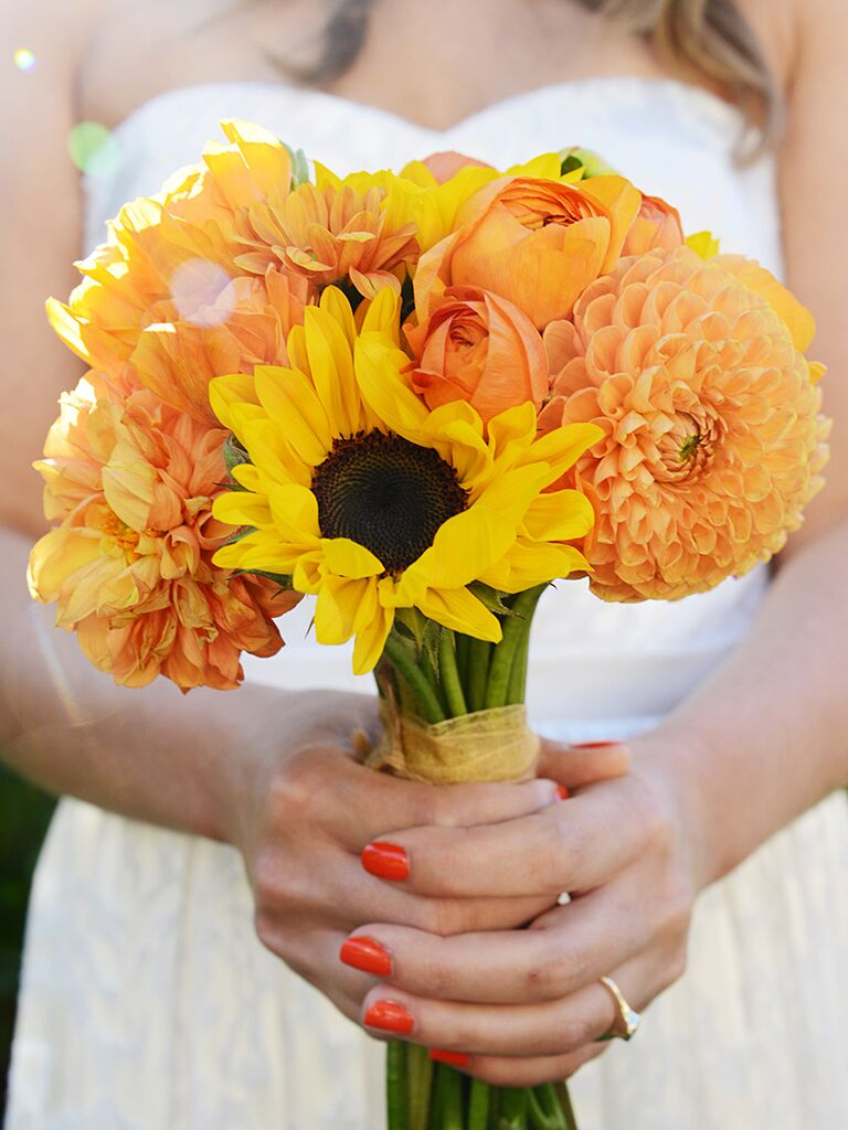 Charming sunflower wedding bouquets a bridal bouquet with sunflowers and dahlias junglespirit Images