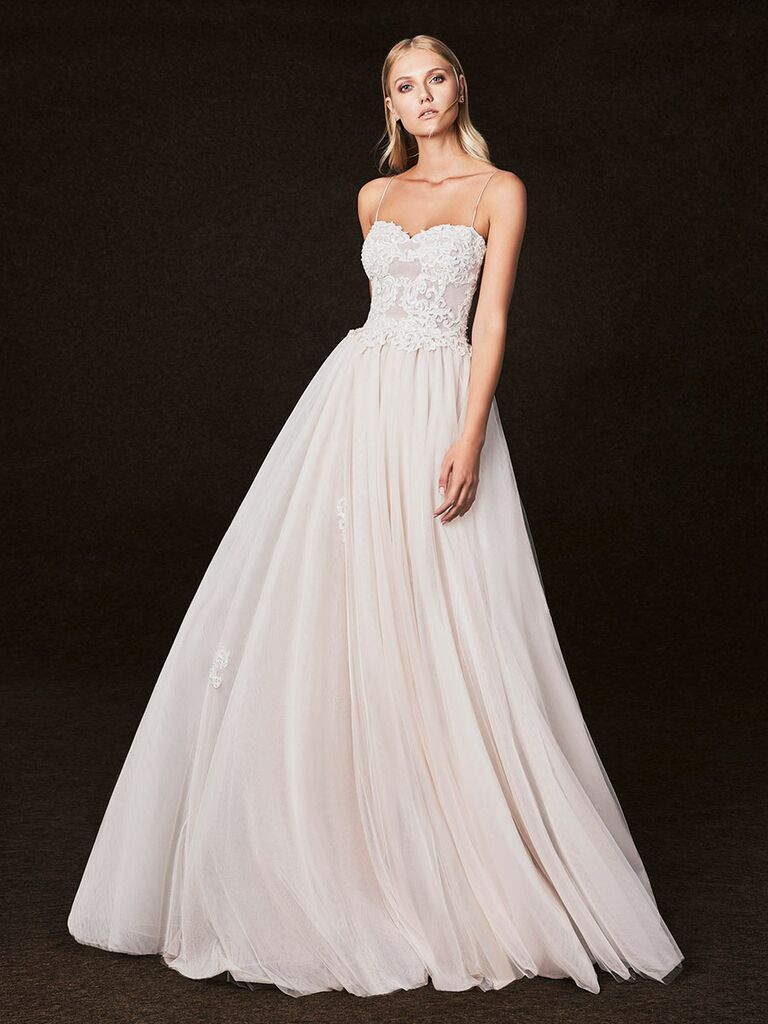 Victoria Kyriakides Fall 2017 soft sweetheart neckline with lace wedding dress with thin straps and aline skirt