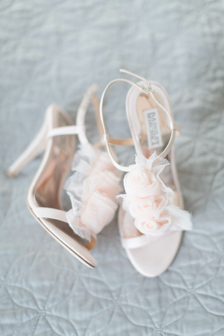 Blush Badgley Mischka Heels with Ruffles