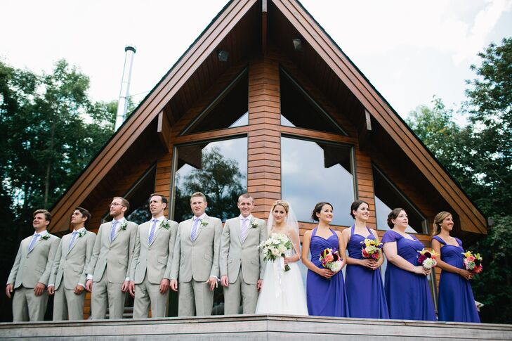 """""""We wanted our wedding day outfits to complement the natural beauty of Vashon,"""" says the couple. """"Grace wore a whimsical strapless dress, with a crystal-studded bodice that seemed almost """"fairy-like."""" The bridesmaid's flowing dresses were light enough to withstand the August heat! Kevan and his groomsmen wore light colored suits."""""""
