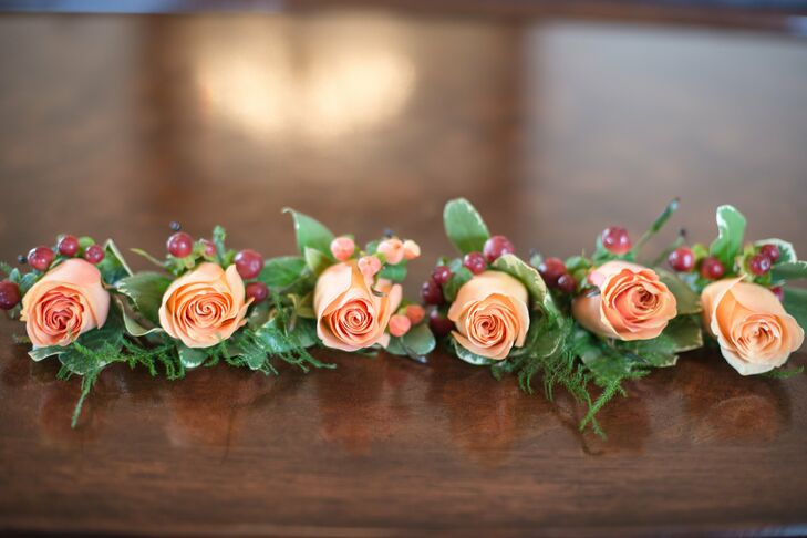 Peach Rose and Hypericum Boutonnieres