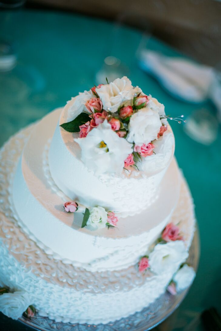Flower-Decorated White Wedding Cake