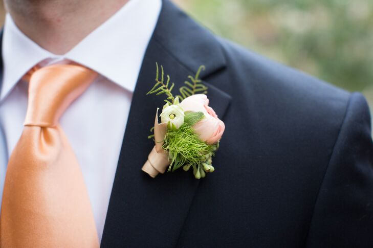 Peach and Rose Ranunculus Boutonniere