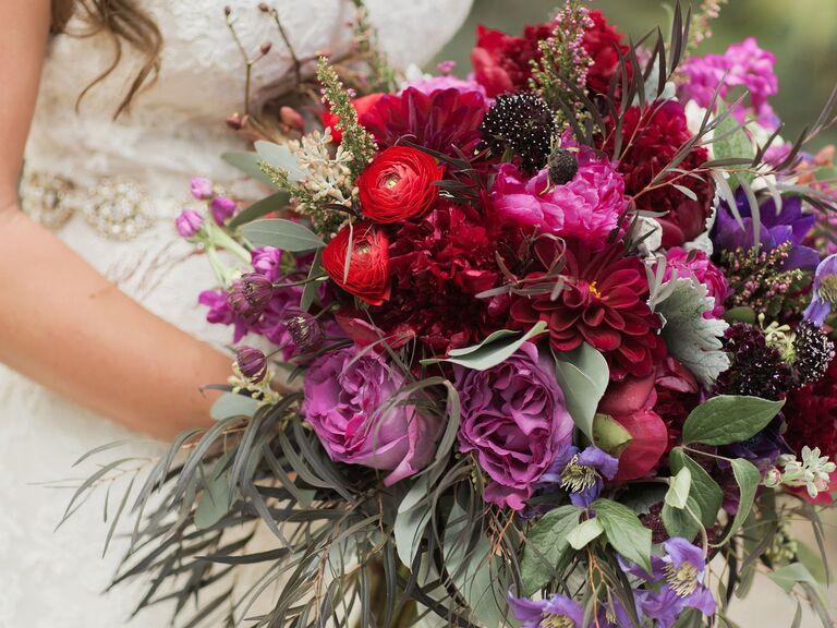 red pink and purple wedding bouquet
