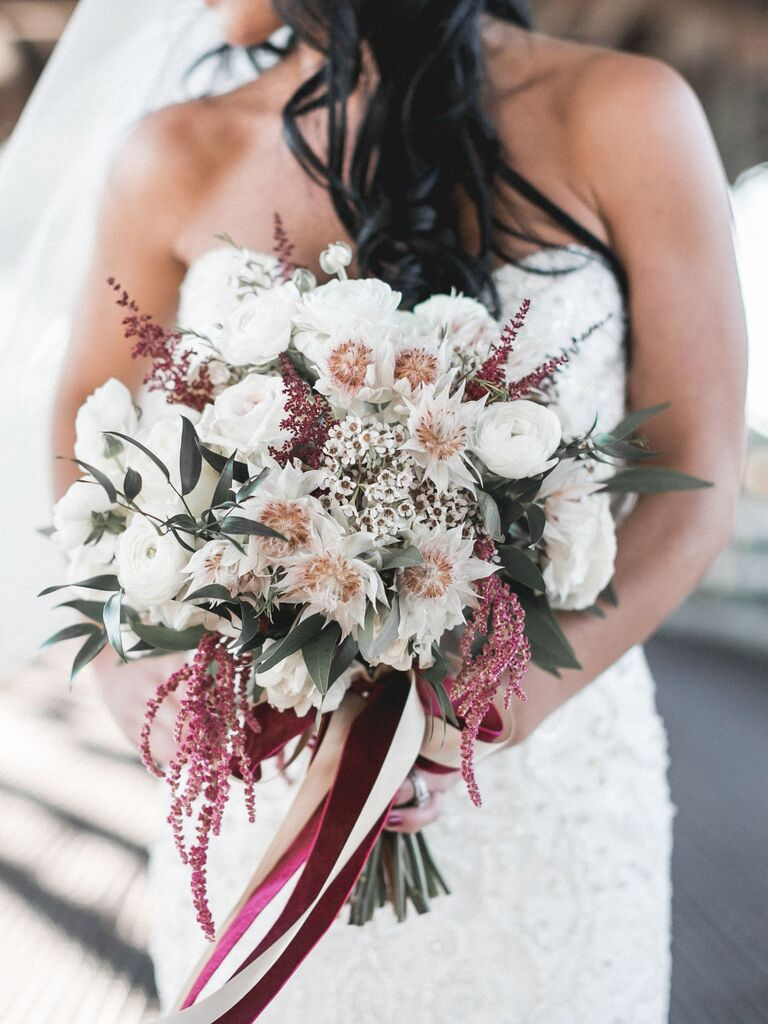 Burgundy and white wilflower bouquet