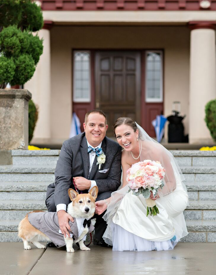 Lindsey and Keith love dogs, and since their four-legged friend, Joey, was there to share in the excitement of their engagement, it seemed appropriate that he be present on their wedding day. The couple dressed Joey up in a gray tuxedo that perfectly matched Keith's style and colors.