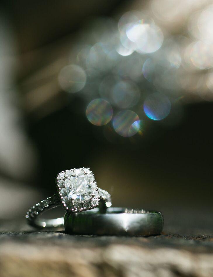 Princess-Cut Diamond Silver Engagement Ring