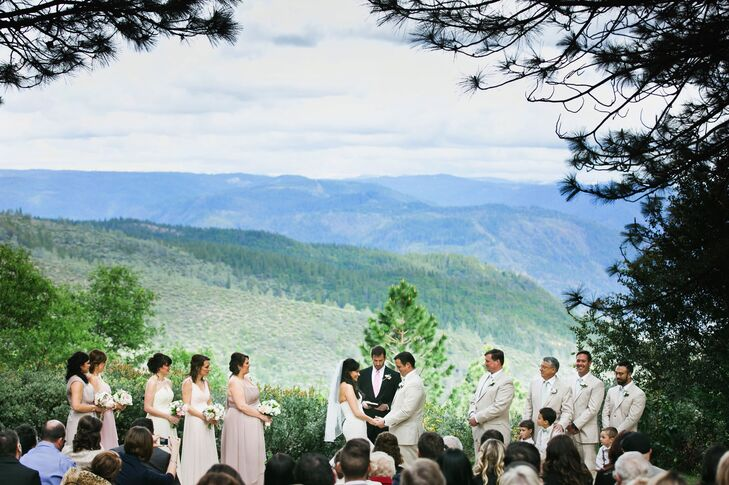 The couple had their wedding ceremony outside at Forest House Lodge in Foresthill, California, with a gorgeous backdrop of the Sierras. On the day of the wedding, the bridesmaids wore a variety of pastel-colored dresses while the groomsmen wore tan suits that matched the groom.