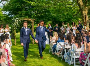 "Trey Williams and Ian McManus wed on June 1, 2019, at a mansion in Greenport, New York. ""Ian's family has a summer home in Shelter Island and the enti"