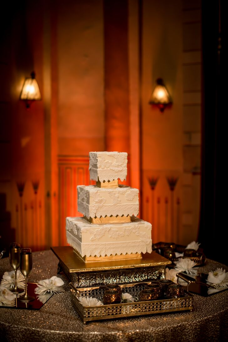 Intricate Square White and Gold Wedding Cake