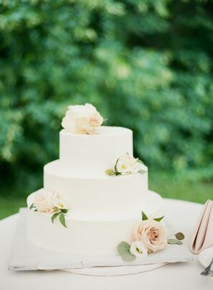 Classic Tiered Wedding Cake with Fondant and Flowers