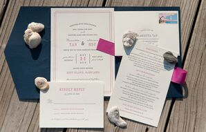 Blue and Pink Invitation Set
