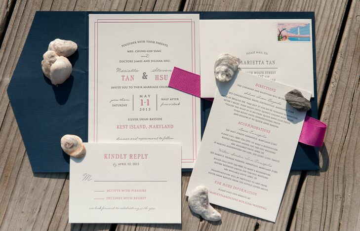 I knew early on that I wanted to splurge on letterpress invitations,  says Marietta. She found her designer and printer on Etsy, and together the two customized an invitation suite, programs and menus.