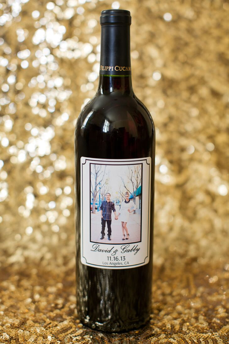 """""""For our guests, we had bottles of wine as thank you gifts,"""" says Gabriela. """"Joseph Filippi Winery, a local winery from our hometown of Rancho Cucamonga, made us some awesome custom labels."""""""