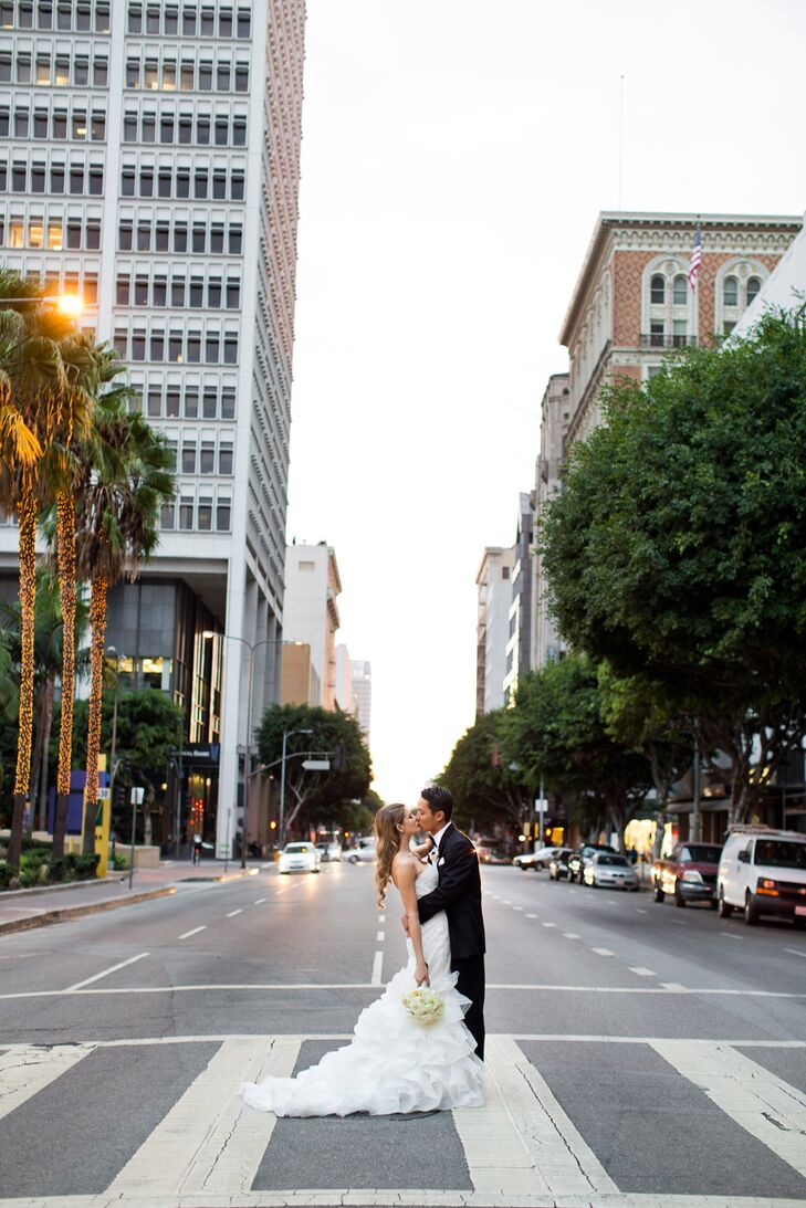 Married Couple Kissing in Downtown Los Angeles