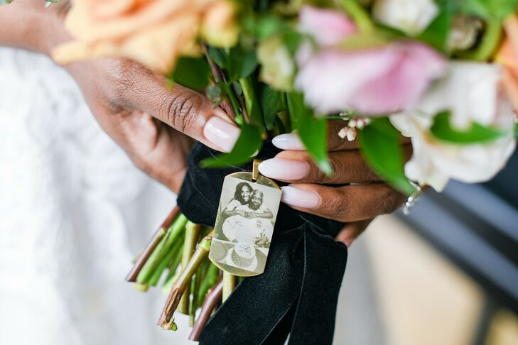Bouquet Wrapped With Picture of Bride's Father
