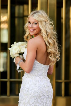 Half-Up Bridal Hairstyle With Loose Curls