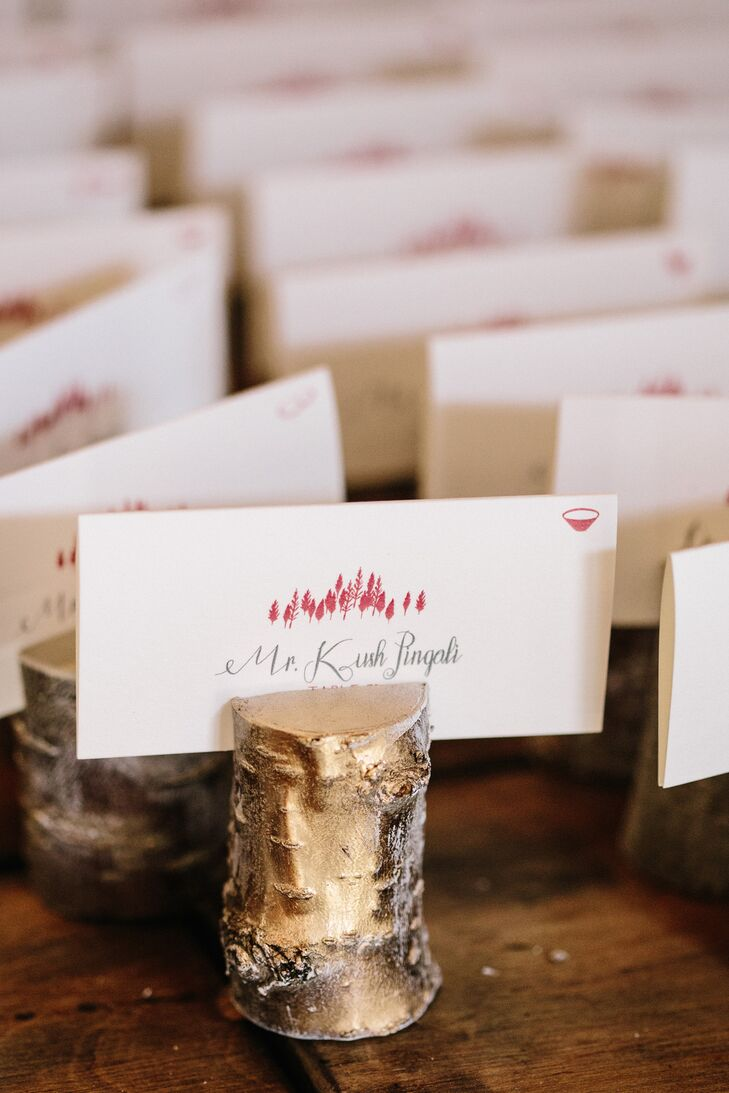 Rustic Escort Cards with Wood Stump and Red Tree Design