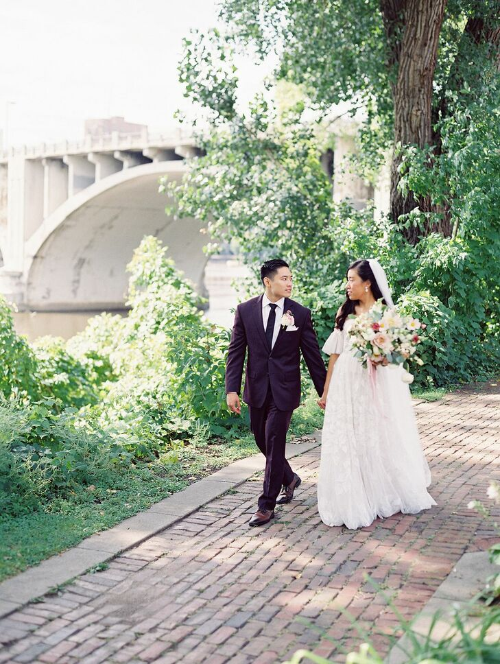 Not only did Sammy and Andy's fall wedding in Minneapolis, Minnesota, have a dreamy blue-and-plum color scheme, a very special VIP, the couple's Yorki