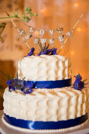 Textured Buttercream Wedding Cake With Blue Ribbon